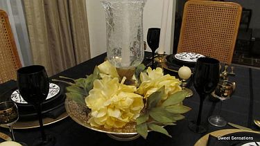 black and gold table seven R