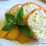 Coconut Lavender Bundt Cake with Bourbon Peaches