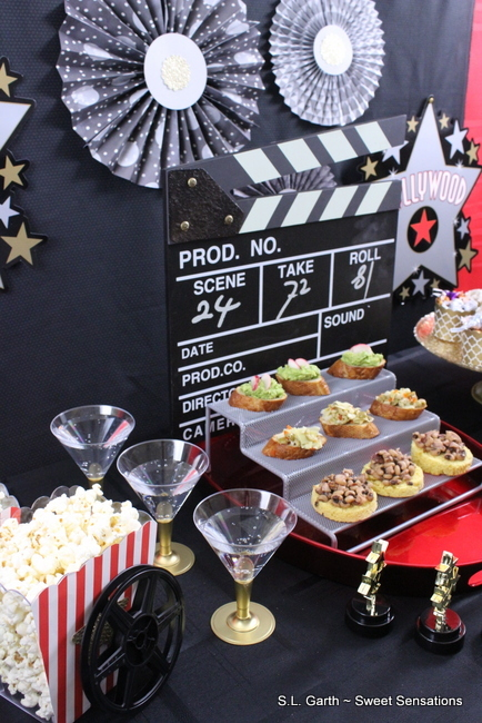 A Mini Hollywood Movie Night Snack Bar is the perfect size for a small intimate gathering.