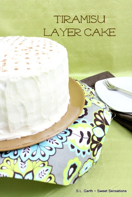 Tiramisu Layer Cake~Delicious Twist on the Italian Classic can easily be decorated in any way you choose.