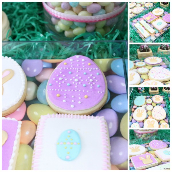 An Easter Garden Dessert Table with fun accents that can be found in the lawn and garden section of your favorite big box store.