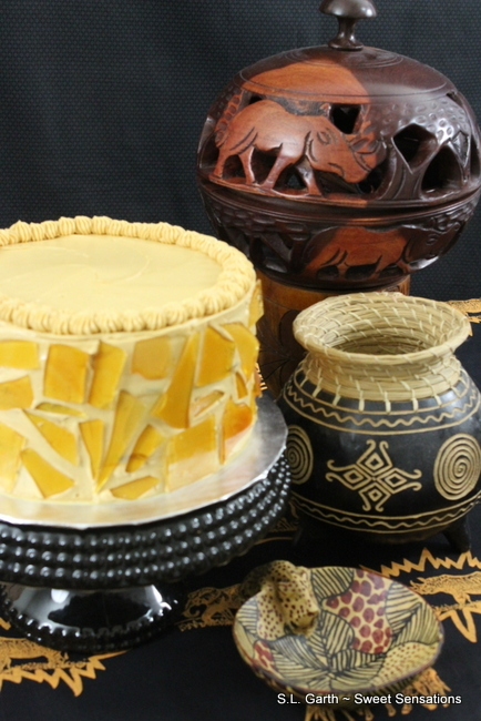 its amber colored sugar shards as decorations this Dulce de Leche Cake ...