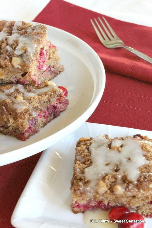Experience cranberries in a different way with this Ridiculously Easy Cranberry Crunch Coffee Cake .