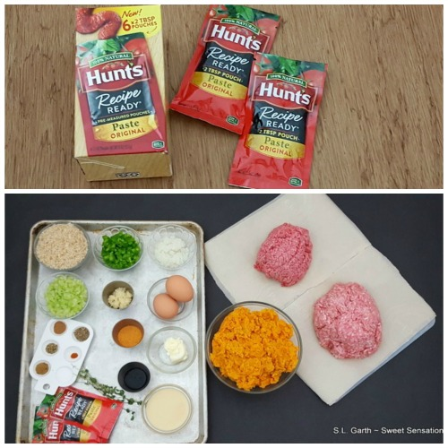 """My Creole Meatloaf Covered with Mashed Sweet Potatoes came together quickly with the help of Hunt's Recipe Ready """"Pre-measure 2TBS"""" Paste Pouches."""