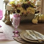 Floral and Feather Thanksgiving Tablescape