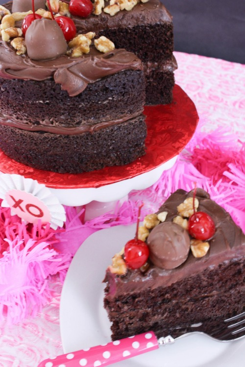 This Chocolate Cherry Walnut Cake is a great centerpiece on your Valentine's table and perfect for dessert after your romantic dinner.