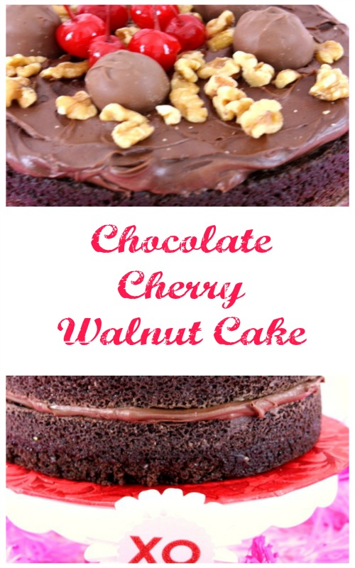 Add a few hearts and flowers and this Chocolate Cherry Walnut Cake is a great centerpiece on your Valentine's table and perfect for dessert after your romantic dinner.