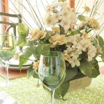 Casual Green and White Spring Tablescape