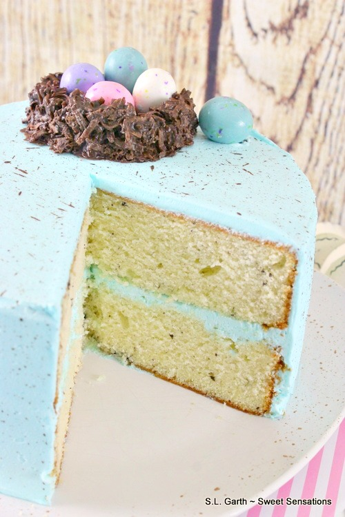 Making this Speckled Egg Cookies and Cream Cake was a bit messy, but the end result was worth it.