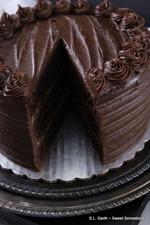 Super Dark Chocolate Cake With Milk Chocolate Lavender Mousse