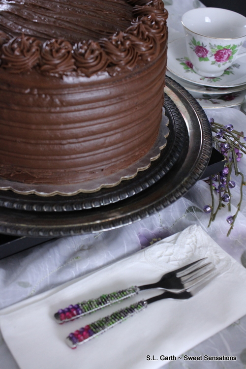 Cake With Chocolate Milk : Super Dark Chocolate Cake with Milk Chocolate Lavender Mousse