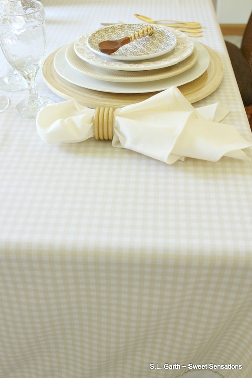 Looking for unusual table covers? Check out the bedding or drapery department of your favorite department or thrift store.